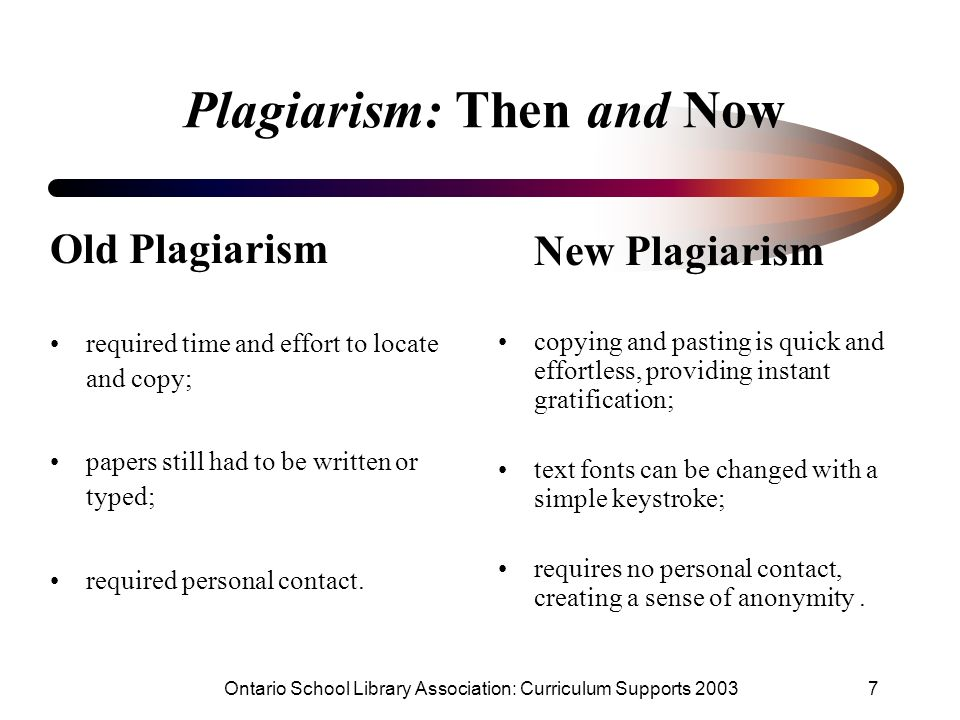 Ontario School Library Association: Curriculum Supports 20037 Plagiarism: Then and Now Old Plagiarism required time and effort to locate and copy; pap