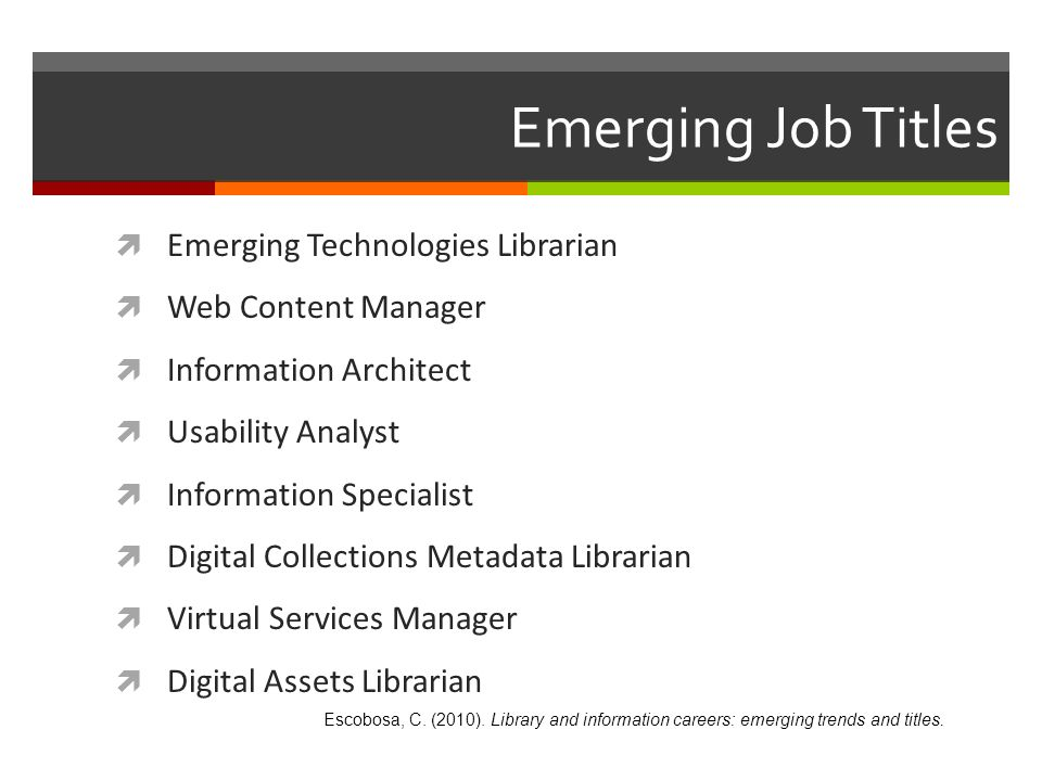 Emerging Job Titles Emerging Technologies Librarian Web Content Manager Information Architect Usability Analyst Information Specialist Digital Collect