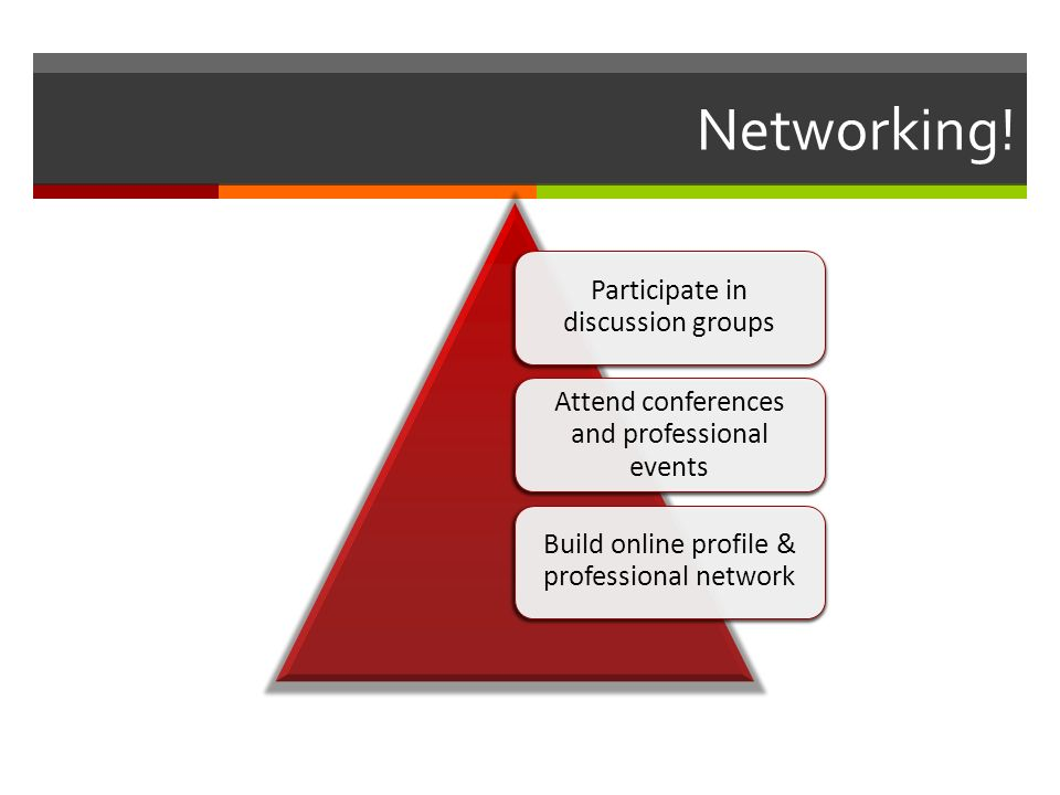 Networking! Participate in discussion groups Attend conferences and professional events Build online profile & professional network