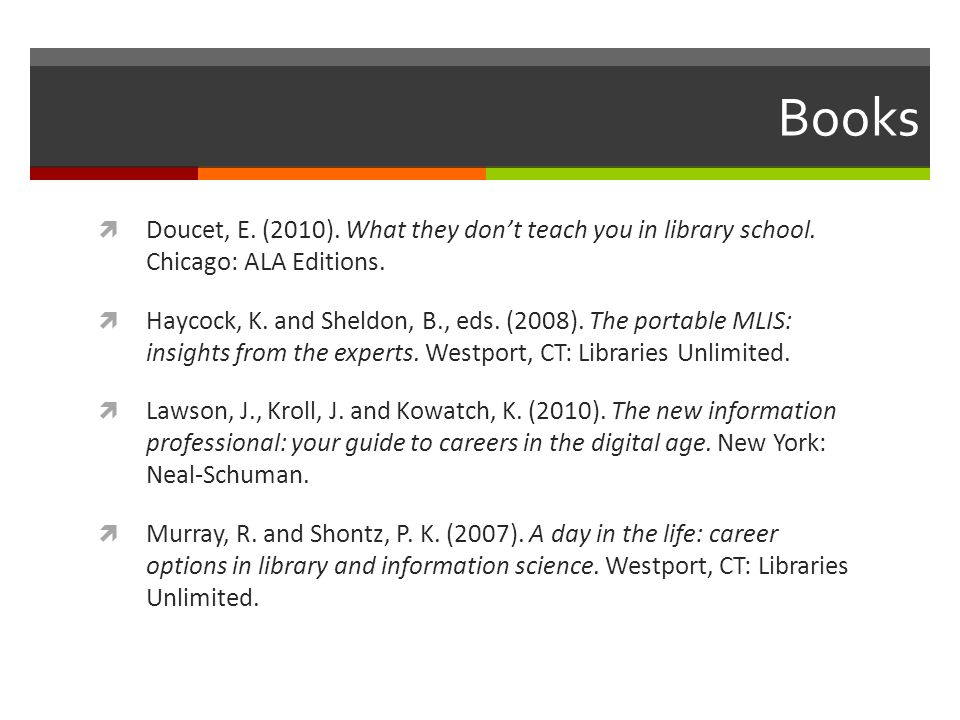 Books Doucet, E. (2010). What they dont teach you in library school. Chicago: ALA Editions. Haycock, K. and Sheldon, B., eds. (2008). The portable MLI