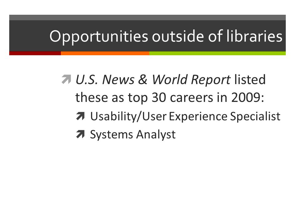 Moving into industry – untraditional library position Scenario Professor at University of Arizona Need to leave job for family move No academic jobs available in the Bay Area Strategies Leveraged network Created opportunity Took a chance