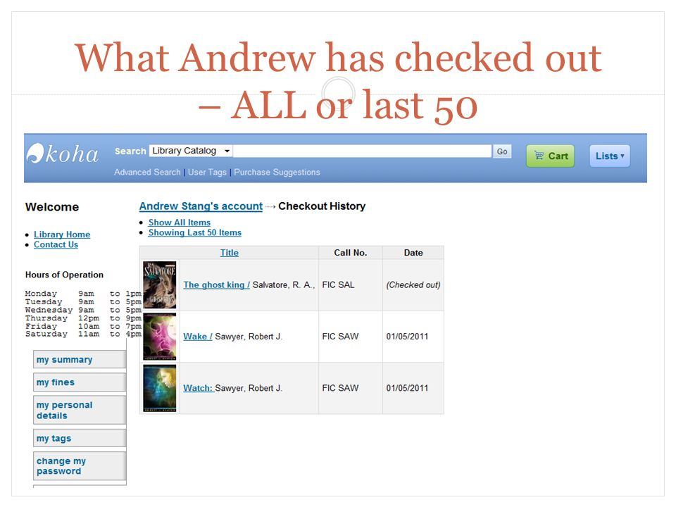 What Andrew has checked out – ALL or last 50