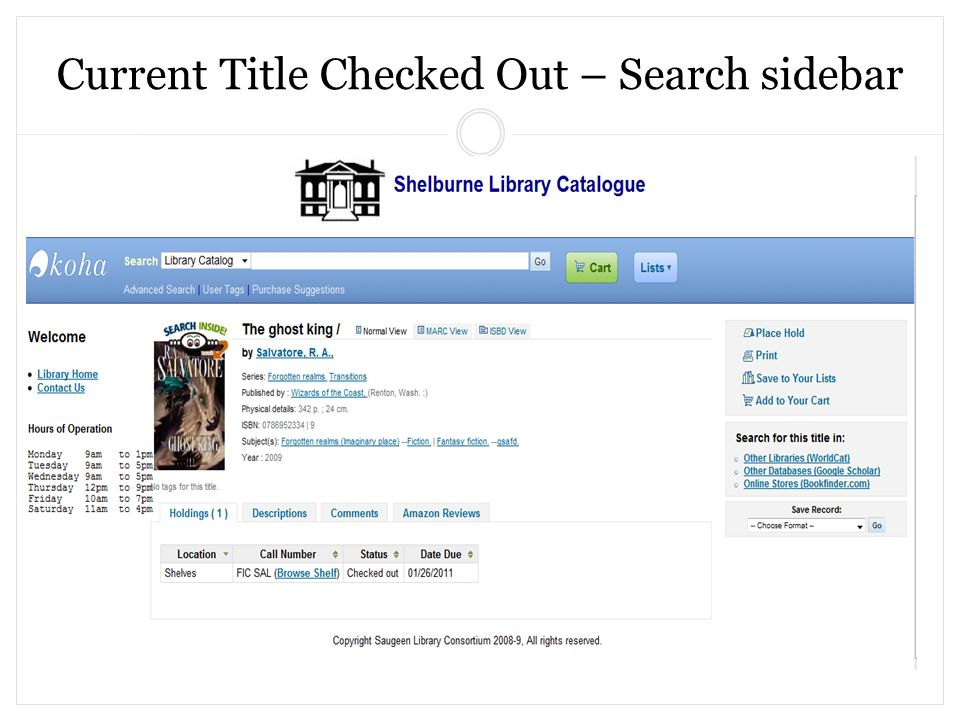 Current Title Checked Out – Search sidebar