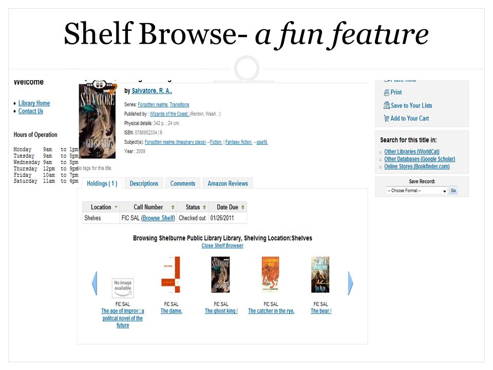 Shelf Browse- a fun feature
