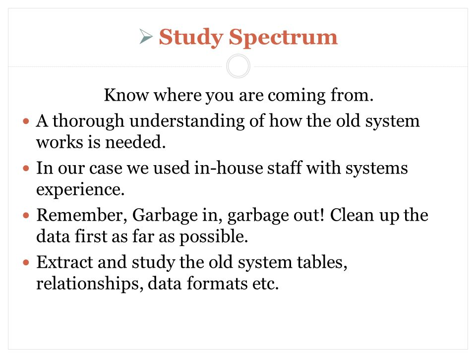 Study Spectrum Know where you are coming from.