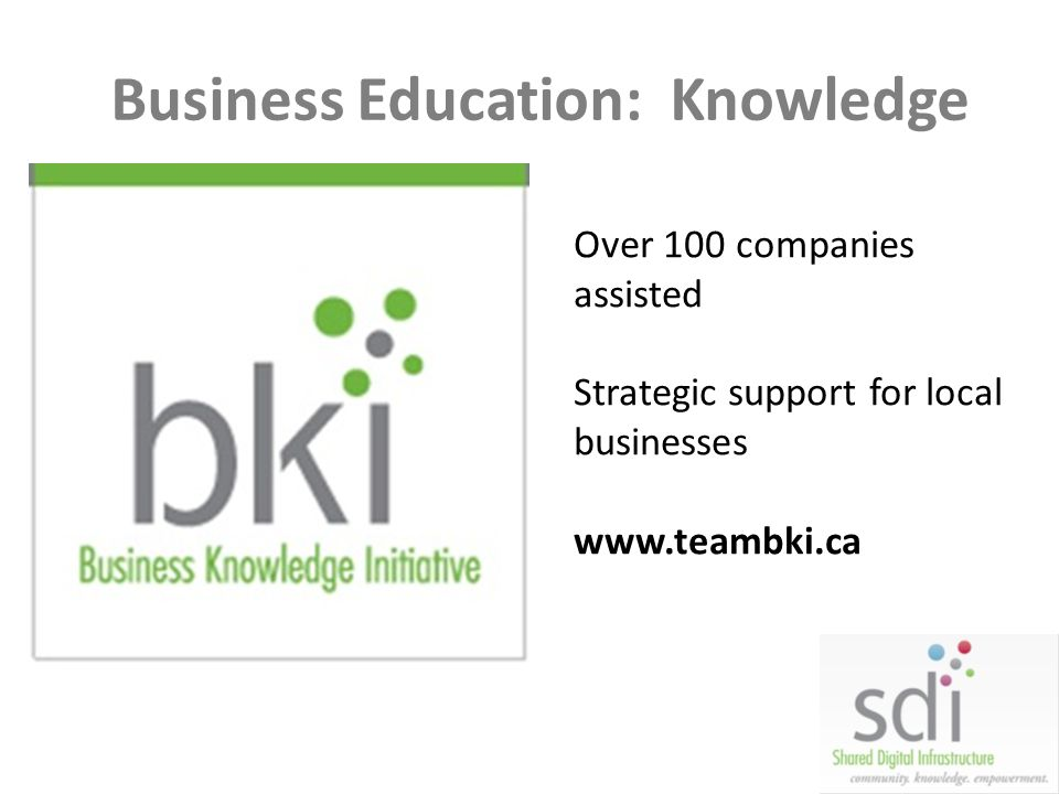 Business Education: Knowledge Over 100 companies assisted Strategic support for local businesses www.teambki.ca