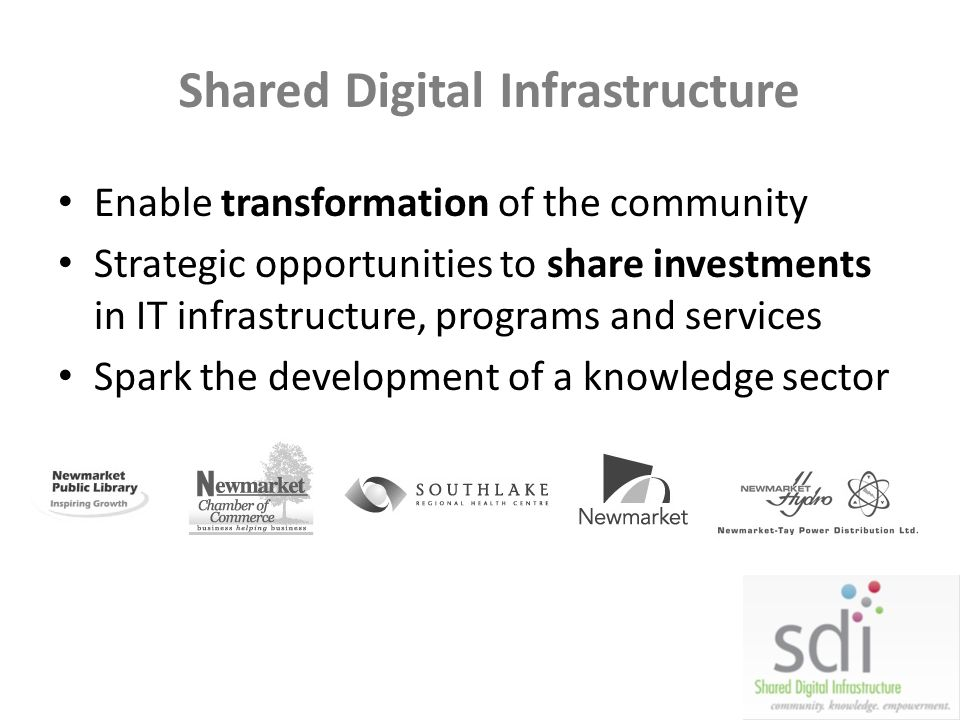 Shared Digital Infrastructure Enable transformation of the community Strategic opportunities to share investments in IT infrastructure, programs and s