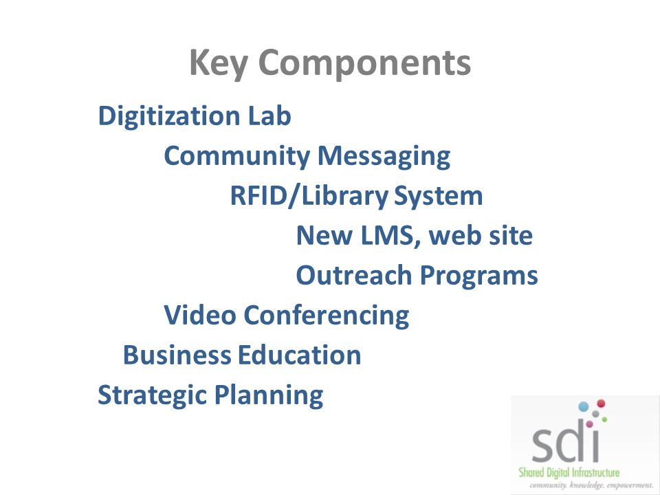 Key Components Digitization Lab Community Messaging RFID/Library System New LMS, web site Outreach Programs Video Conferencing Business Education Stra