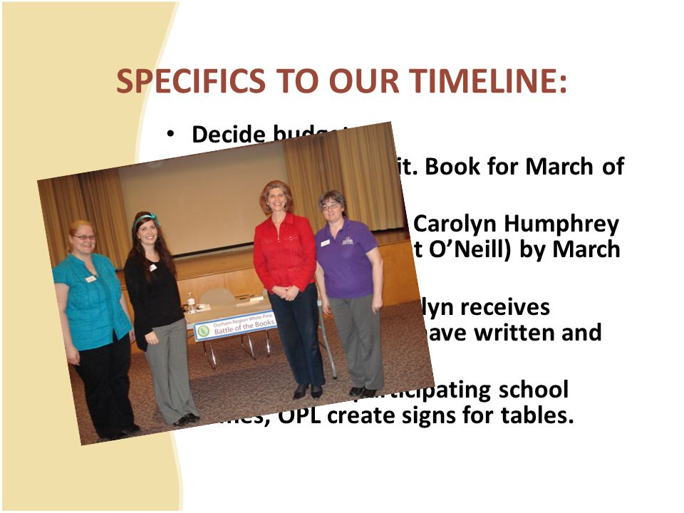 SPECIFICS TO OUR TIMELINE: Decide budget Arrange author visit. Book for March of following year. Teams register with Carolyn Humphrey (Teacher/Librari