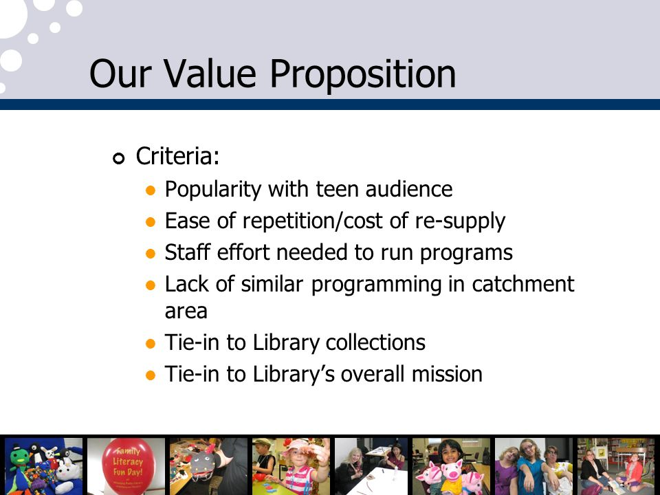 Our Value Proposition Criteria: Popularity with teen audience Ease of repetition/cost of re-supply Staff effort needed to run programs Lack of similar