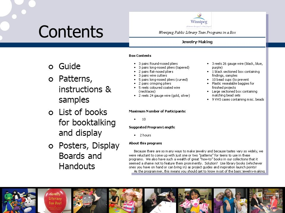 Contents Guide Patterns, instructions & samples List of books for booktalking and display Posters, Display Boards and Handouts