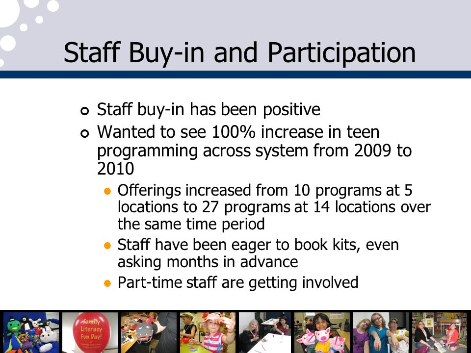Staff Buy-in and Participation Staff buy-in has been positive Wanted to see 100% increase in teen programming across system from 2009 to 2010 Offerings increased from 10 programs at 5 locations to 27 programs at 14 locations over the same time period Staff have been eager to book kits, even asking months in advance Part-time staff are getting involved