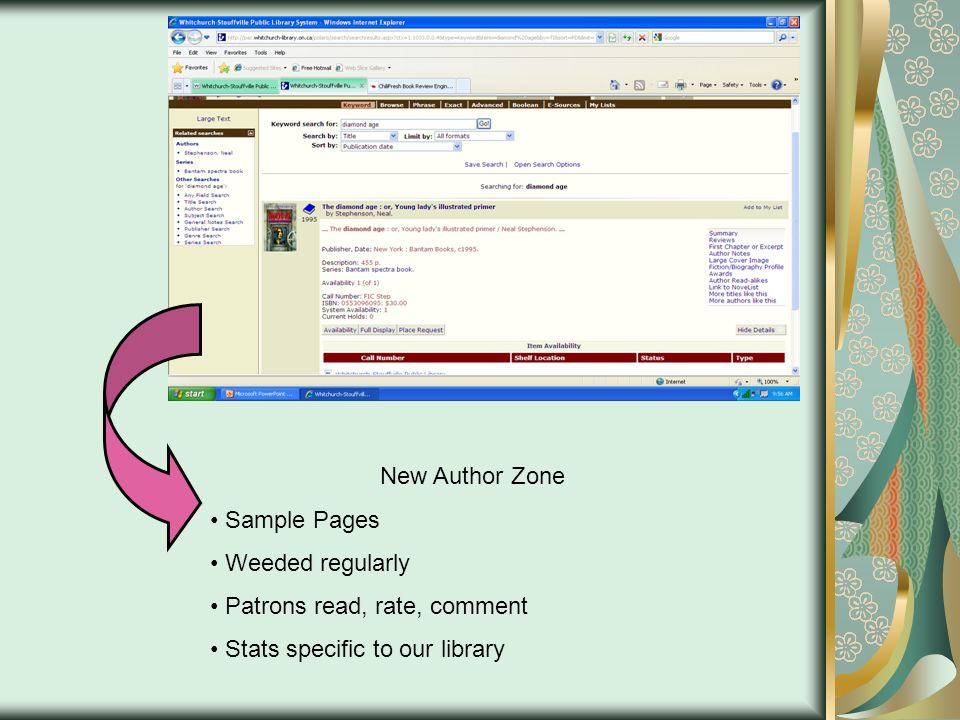 New Author Zone Sample Pages Weeded regularly Patrons read, rate, comment Stats specific to our library