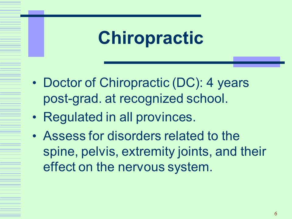 6 Chiropractic Doctor of Chiropractic (DC): 4 years post-grad. at recognized school. Regulated in all provinces. Assess for disorders related to the s