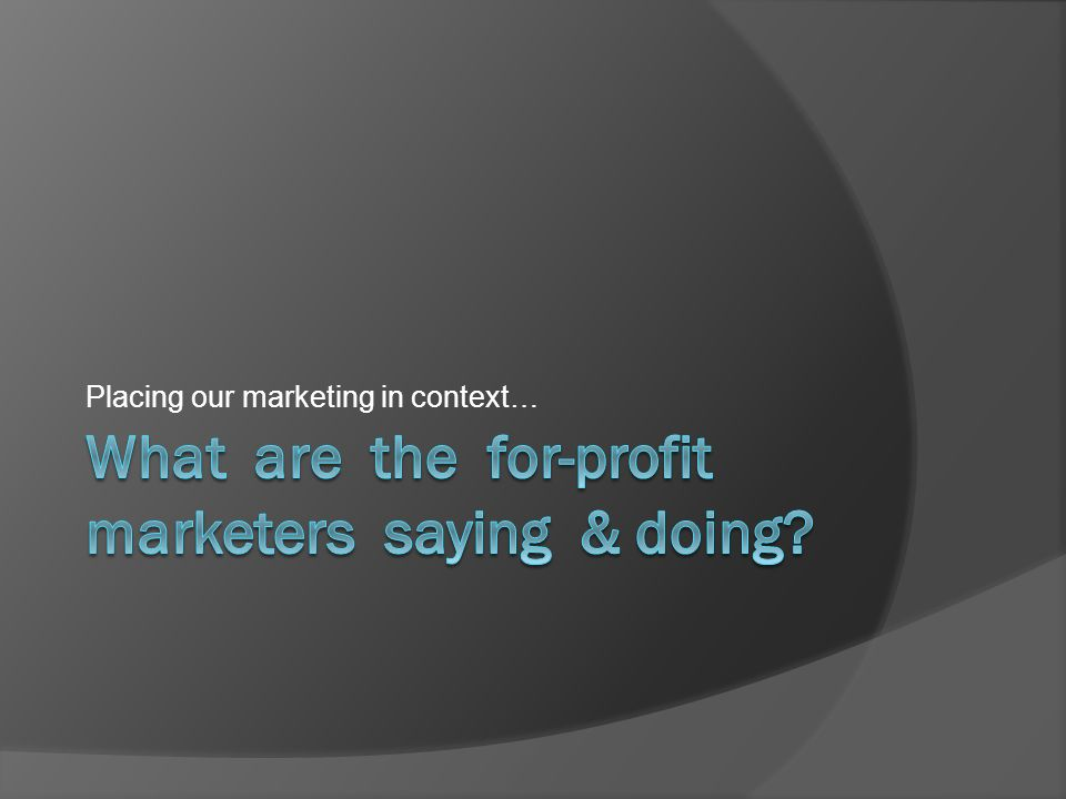 Placing our marketing in context…