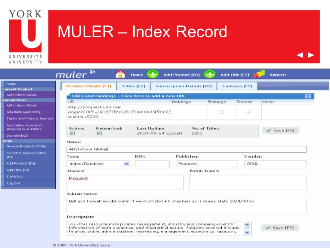 MULER – Index Record
