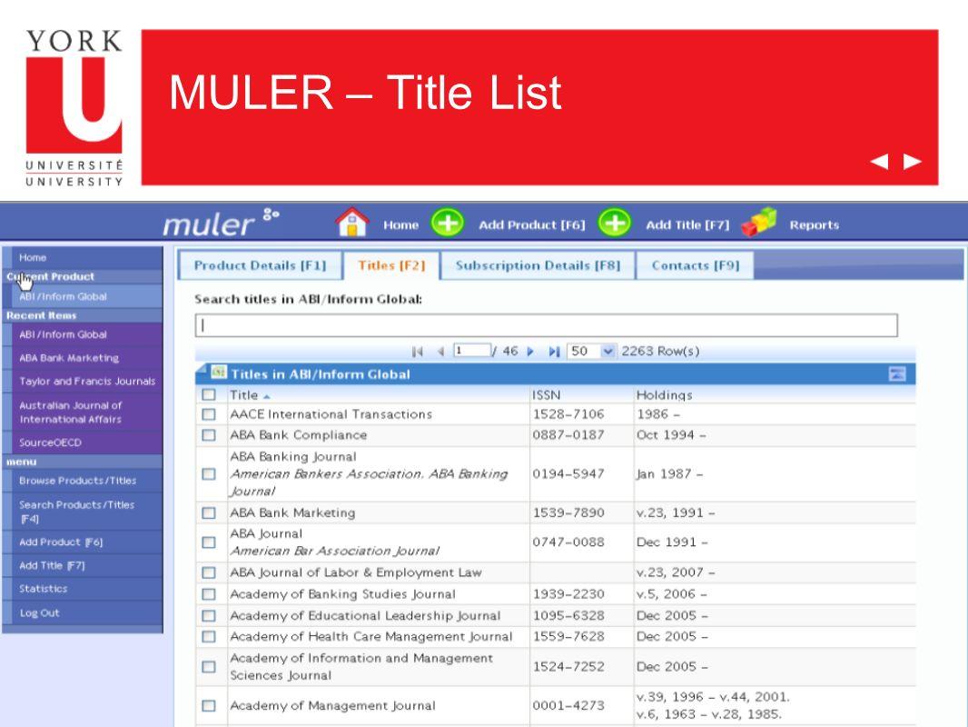 MULER – Title List