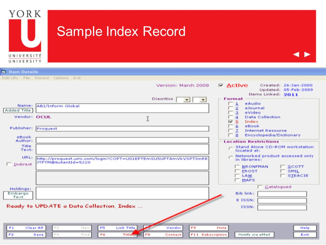 Whats Next Subject Field – tag eResources by Subject, integrate them into subject research guides, course research guides o http://www.library.yorku.ca/subjects/manager/subjects/ http://www.library.yorku.ca/subjects/manager/subjects/ o http://www.library.yorku.ca/subjects/ Read-Only Access