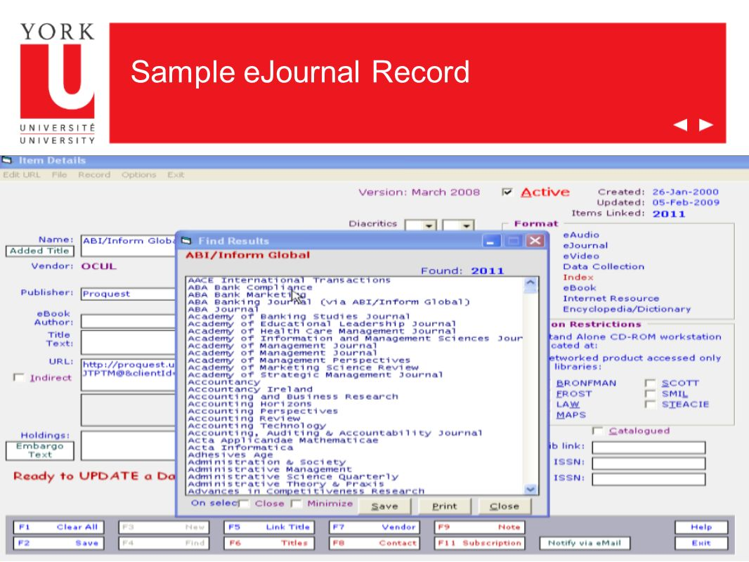 Sample eJournal Record