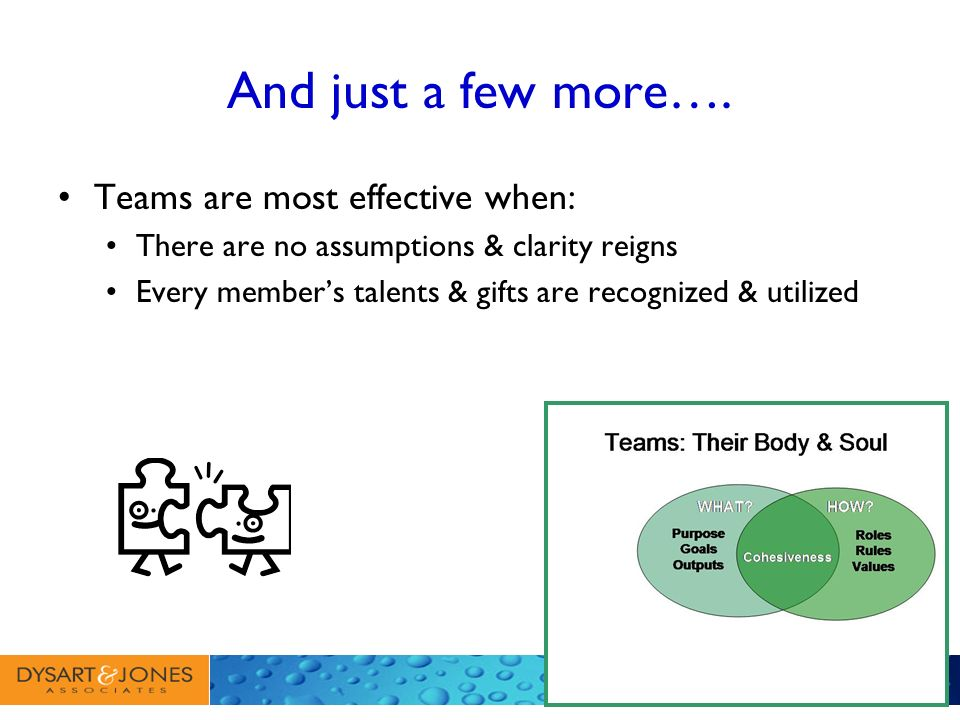 And just a few more…. Teams are most effective when: There are no assumptions & clarity reigns Every members talents & gifts are recognized & utilized