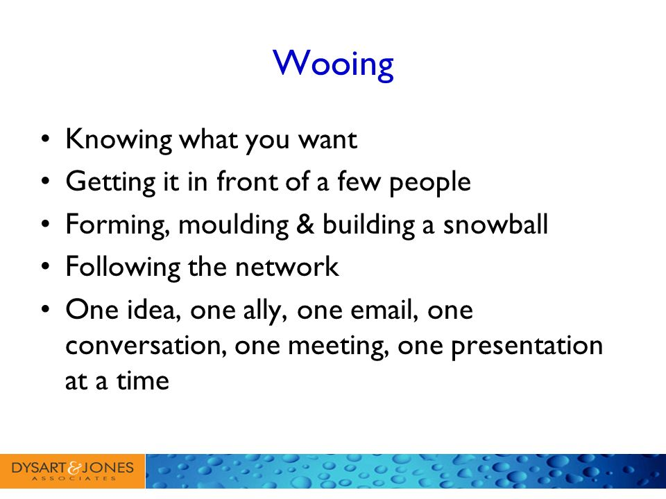 Wooing Knowing what you want Getting it in front of a few people Forming, moulding & building a snowball Following the network One idea, one ally, one