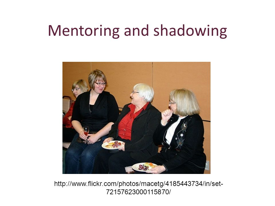 Mentoring and shadowing http://www.flickr.com/photos/macetg/4185443734/in/set- 72157623000115870/