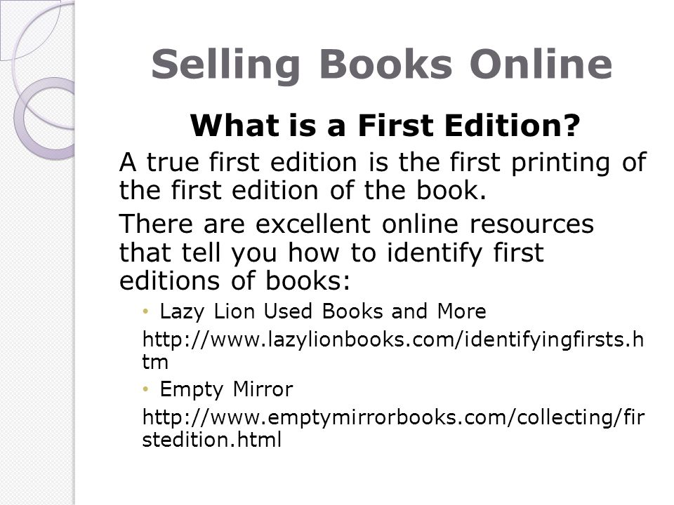 Selling Books Online What is a First Edition.