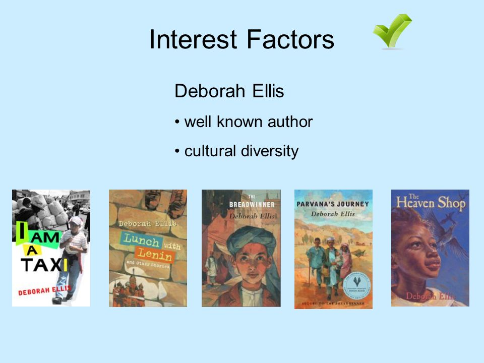 Interest Factors Deborah Ellis well known author cultural diversity