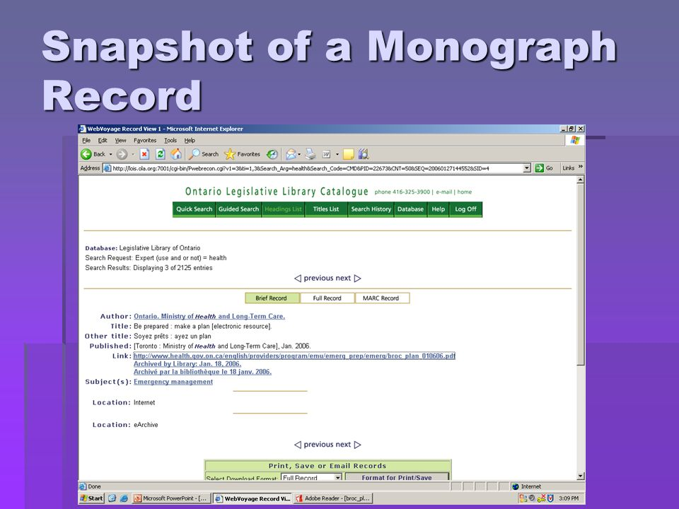 Snapshot of a Monograph Record
