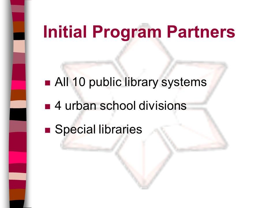 Initial Program Partners n All 10 public library systems n 4 urban school divisions n Special libraries