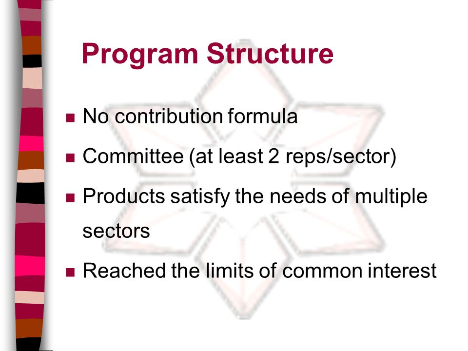 Program Structure n No contribution formula n Committee (at least 2 reps/sector) n Products satisfy the needs of multiple sectors n Reached the limits of common interest