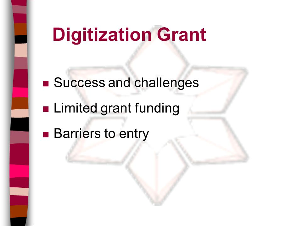 Digitization Grant n Success and challenges n Limited grant funding n Barriers to entry