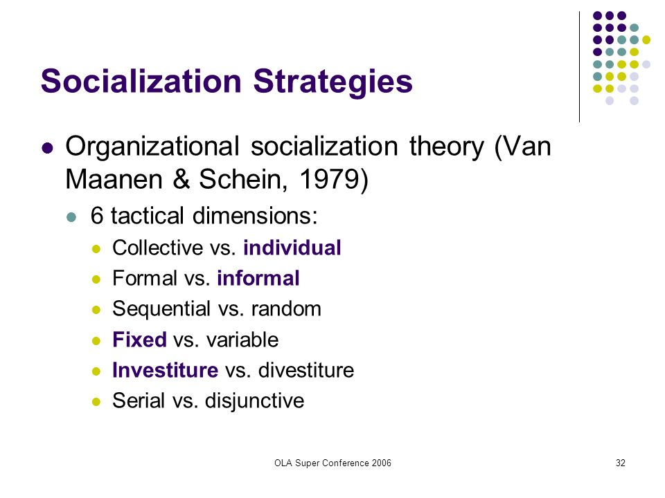 OLA Super Conference 200632 Socialization Strategies Organizational socialization theory (Van Maanen & Schein, 1979) 6 tactical dimensions: Collective