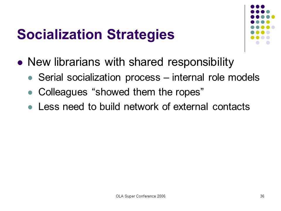 OLA Super Conference 200636 Socialization Strategies New librarians with shared responsibility Serial socialization process – internal role models Col