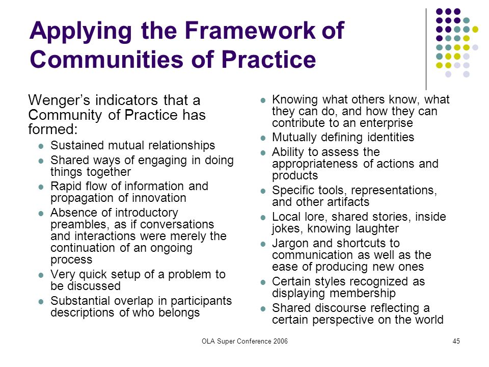 OLA Super Conference 200645 Applying the Framework of Communities of Practice Wengers indicators that a Community of Practice has formed: Sustained mu