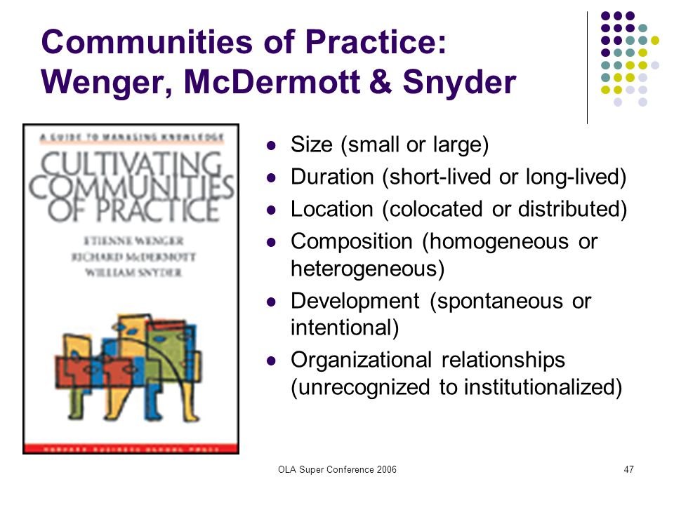 OLA Super Conference 200647 Communities of Practice: Wenger, McDermott & Snyder Size (small or large) Duration (short-lived or long-lived) Location (c
