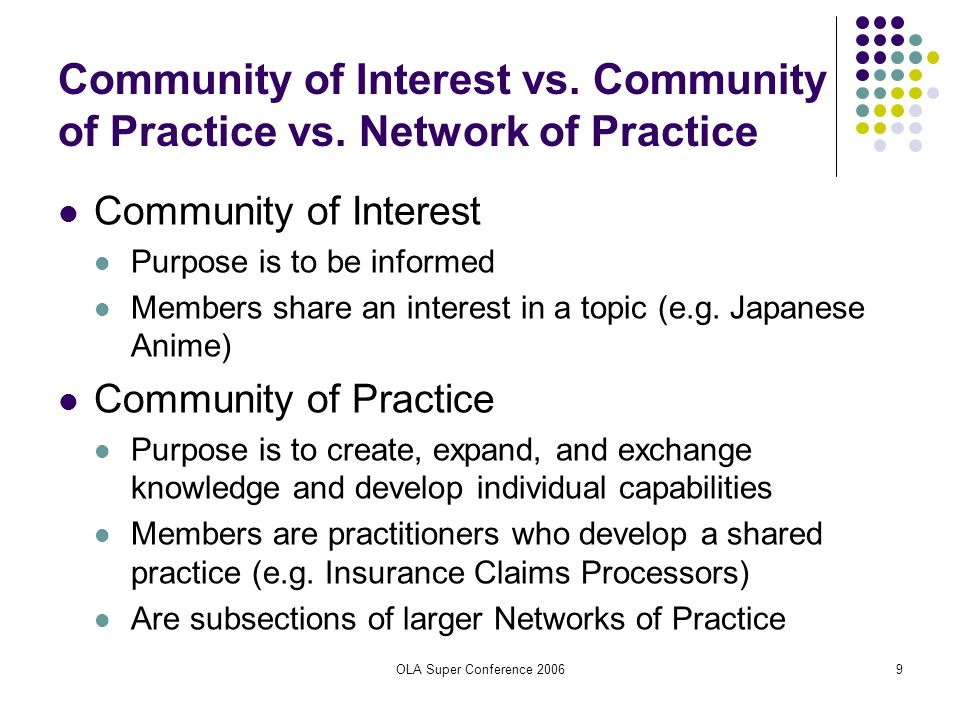 OLA Super Conference 20069 Community of Interest vs. Community of Practice vs. Network of Practice Community of Interest Purpose is to be informed Mem