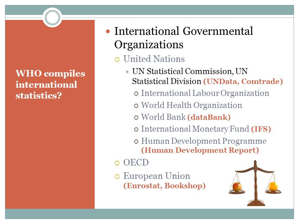 WHO compiles international statistics? International Governmental Organizations United Nations UN Statistical Commission, UN Statistical Division (UND