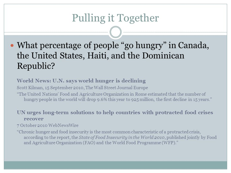 Pulling it Together What percentage of people go hungry in Canada, the United States, Haiti, and the Dominican Republic? World News: U.N. says world h