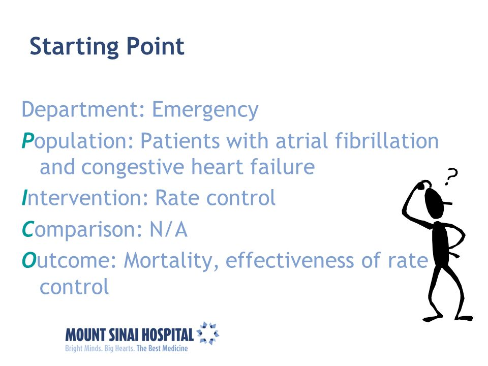 Starting Point Department: Emergency Population: Patients with atrial fibrillation and congestive heart failure Intervention: Rate control Comparison: