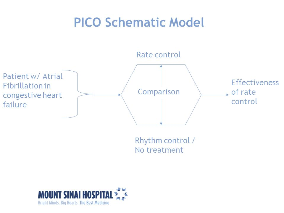 Patient w/ Atrial Fibrillation in congestive heart failure Comparison PICO Schematic Model Rate control Effectiveness of rate control Rhythm control /