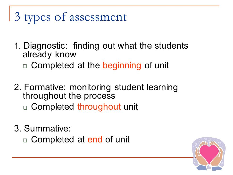 3 types of assessment 1. Diagnostic: finding out what the students already know Completed at the beginning of unit 2. Formative: monitoring student le
