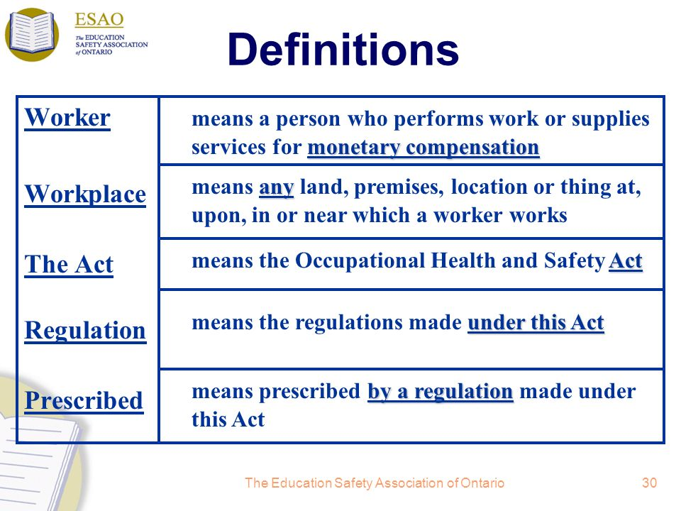 The Education Safety Association of Ontario30 Definitions Worker Workplace The Act Regulation Prescribed by a regulation means prescribed by a regulat