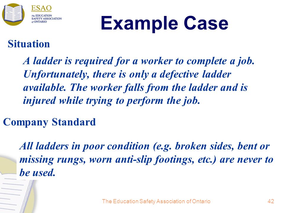 The Education Safety Association of Ontario42 Example Case A ladder is required for a worker to complete a job.