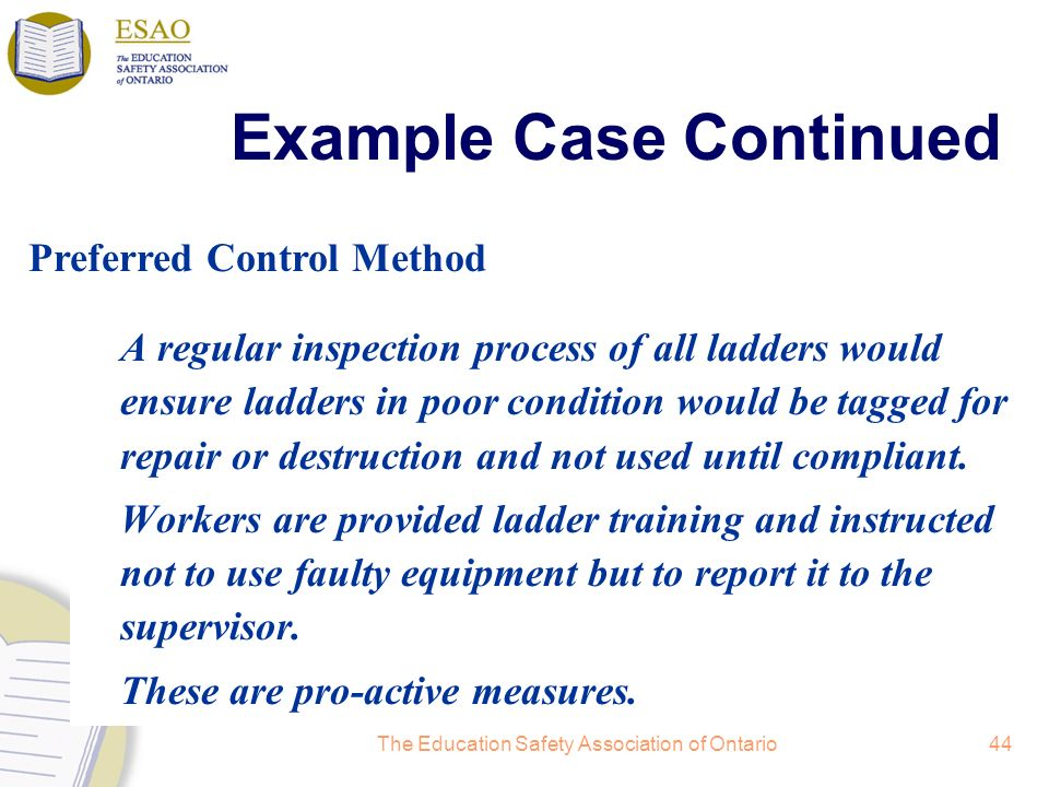 The Education Safety Association of Ontario44 A regular inspection process of all ladders would ensure ladders in poor condition would be tagged for repair or destruction and not used until compliant.
