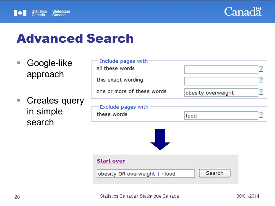 Advanced Search 30/01/2014 Statistics Canada Statistique Canada 20 Google-like approach Creates query in simple search