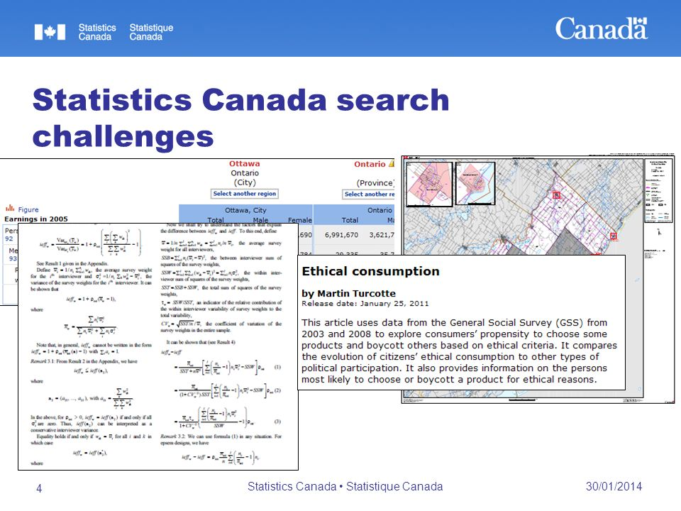 30/01/2014 Statistics Canada Statistique Canada 4 Statistics Canada search challenges 166, 236