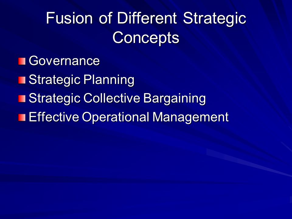 Fusion of Different Strategic Concepts Governance Strategic Planning Strategic Collective Bargaining Effective Operational Management