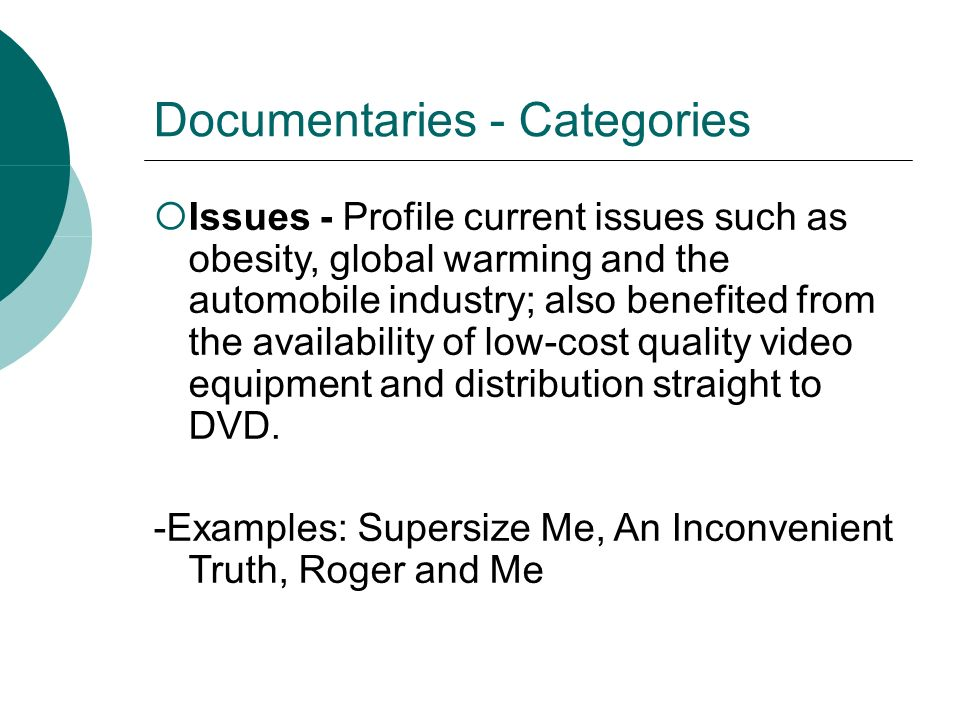 Documentaries - Categories Issues - Profile current issues such as obesity, global warming and the automobile industry; also benefited from the availa