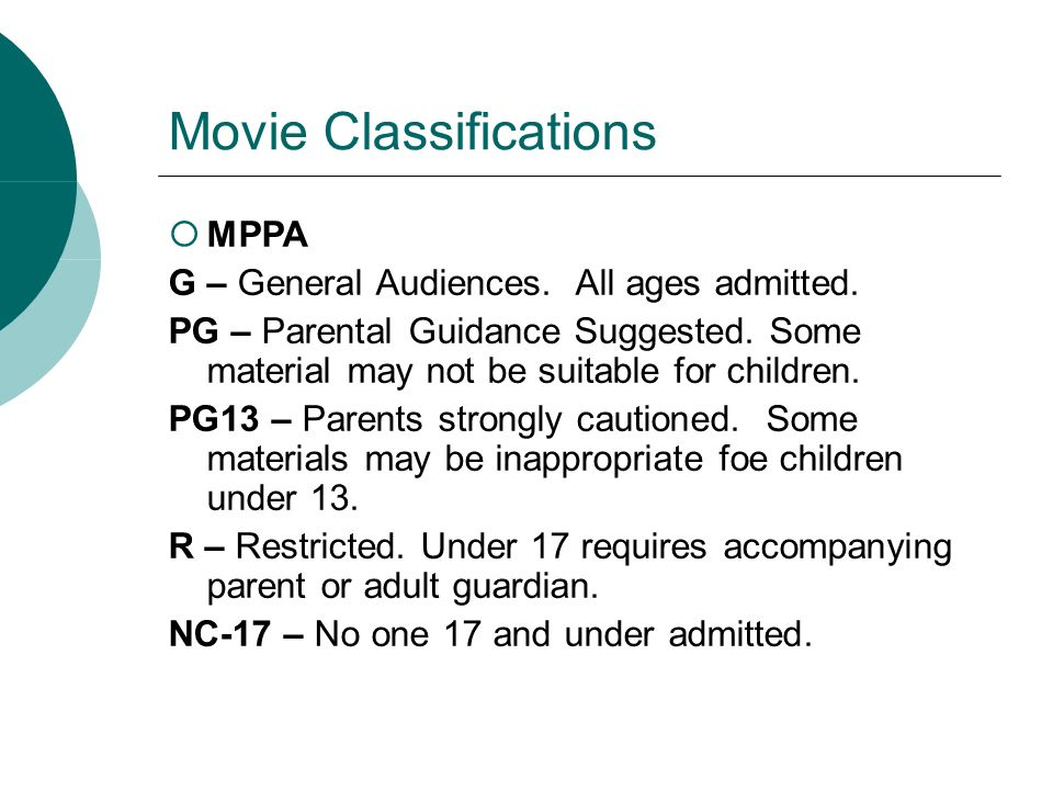 Movie Classifications MPPA G – General Audiences. All ages admitted. PG – Parental Guidance Suggested. Some material may not be suitable for children.